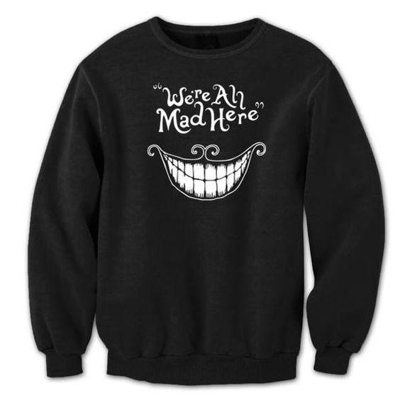 Here Mad Hatter Cat Crewneck black Sweatshirt ER30