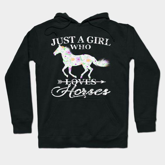 Just Girl Horses Hoodie SR11M1